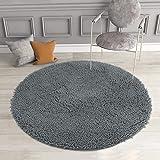 Mayshine 3ft Diameter Round Non-Slip Chenille Shaggy Machine-Washable Dog Bed mat - Dark Gray