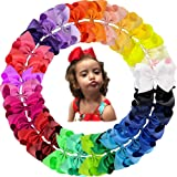 Oaoleer 30 Colors 4 Inch Hair Bows Clips Grosgrain Ribbon Bows Hair Alligator Clips Hair Barrettes Hair Accessories for Girls