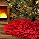 yuboo Christmas Tree Skirt, 50 inches Burlap 6-Layer Rustic Xmas Tree Holiday Decorations (red) (red)