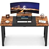 "CubiCubi Computer Desk 55"" with Splice Board Study Writing Table for Home Office, Modern Simple Style PC Desk, Black Metal Fr"