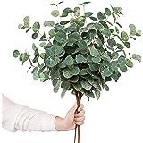 "YOUZAN 6pcs Artificial Eucalyptus Leaves Stems 24.8"" Silver Dollar Eucalyptus Artificial Greenery Silk Eucalyptus Plant for H"