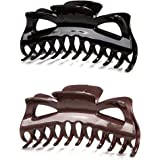 Prettyou 5.5 Inches Large Crystal Look Plastic Hair Claw Banana Clips for Women,pack of Two (Set-No.7)
