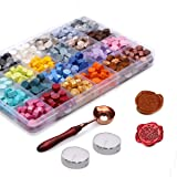 Dsaren 600 Pcs Sealing Wax Beads Vintage Wax Seal Kit with 2 Pcs Tea Candles and Wax Spoon Creative Gift (24 Color)
