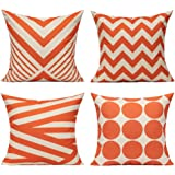 All Smiles Outdoor Decorative Orange Throw Pillow Covers Cases Accent Cushion 18x18 Set of 4 Cotton Linen Square for Patio Co