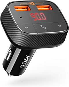 Anker Roav FM Transmitter F0 (FMトランスミッター搭載 24W 2ポート カーチャージャー)【Bluetooth 4.2 / ハンズフリー通話対応 / PowerIQ搭載】