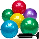 Bedwina 7 Inch Knobby Balls (Pack Of 6) In Assorted Neon Colors Bumpy Sensory Bounce Ball For All Ages Kids Party Favor Pool