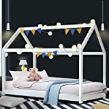 Artiss CASA Single Bed Frame, Wooden Kids House Bed, White