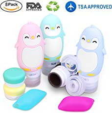 旅行ボトル-漏れ防止ペンギンシリコンTSA認定スクイズ可能な化粧品トラベルコンテナとポータブルトラベルアクセサリーセット -トイレタリー、シャンプー、コンディショナー、ローション(90ml、4パック) [並行輸入品]