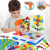 224 Pieces STEM Learning Toys Electric DIY Drill Educational Mushroom Pegboard Mosaic Puzzle Construction Engineering Buildin