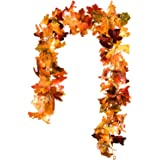 DearHouse 2 Pack Fall Garland Maple Leaf, 5.9Ft/Piece Hanging Vine Garland with 16.4ft 40 Led String Light, Artificial Autumn