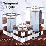 Amazing Home Huge and Heavy Crystal Candle Holders Set of 3, 6.9cm Width Prepackaged Elegant Heavy Solid Square Tealight Hold