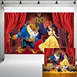 Beauty and The Beast Party Supplies Backdrop 5x3ft Happy Birthday Party Background for Girl Princess Children Studio Photo Pr