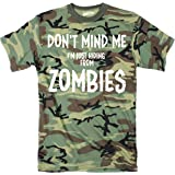 Mens Just Hiding From Zombies Funny Full Camouflage Print Halloween T shirt (Camo) - XL