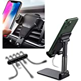 Cell Phone Stand Foldable, Angle & Height Adjustable,Car Mount Holder Universal Phone Car Air Vent Holder Cradle,Cable Clips-