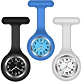 3 Pack Home-Mart Nurse Watch Brooch 3 Colours, Silicone with Pin/Clip, Glow in Dark, Infection Control Design, Health Care Nu