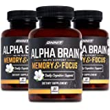 ONNIT Alpha Brain (90ct) - Over 1 Million Bottles Sold - Premium Nootropic Brain Supplement - Focus, Concentration + Memory -