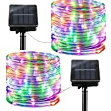 Solar String Lights Outdoor Rope Lights, 2 Pack 8 Modes 100 LED Solar Powered Outdoor Waterproof Tube Light Copper Wire Fairy