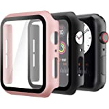 Hianjoo (2 Pack) Case Compatible with Apple Watch SE Series 6 Series 5 Series 4 40mm, Built-in Thin HD Tempered Glass Screen