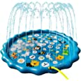"""Sprinkler Play Pad for Kids - 68"""" Splash Pad Outdoor Water Toys for Toddlers, Fun Backyard Fountain Play Mat, Baby Wading Swi"""