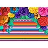 Mexican Theme Party Striped Backdrop Fiesta Cinco De Mayo Paper Flowers Background Party Decoration for Cake Table Decor Phot