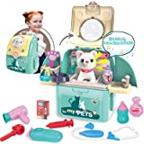Magic4U Pet Cat Carrier Backpack Toy, 23PCS Pet Care Playset,Vet Clinic and Doctor Kit for Kids, Pet Veterinarian Medical Rol