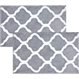 "Pauwer Microfiber Bath Rug Set 2 Piece 21""x34"" Non Slip Absorbent Bathroom Mats Sets Machine Washable White and Gray"