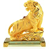 Large Size Chinese Zodiac Tiger Golden Resin Collectible Figurines Table Decor Statue
