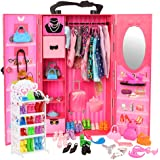 Barwa 73 Accessories for 11.5 Inch 28 - 30 cm Girl Doll: 1 Fashion Closet Wardrobe + 1 Shoe Rack + 16 Dresses Clothes + 10 Pc