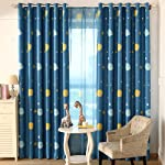 Top Finel Blackout Thermal Insulated Curtains Window Treatment Eyelet for Children Kids Bedroom, Printed Dark Blue with...