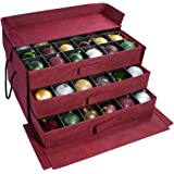 612 Vermont Christmas Ornament Storage Box with 3 Slide Out Trays, Adjustable Acid-Free Dividers, 20 Inch x 14 Inch x 10 Inch