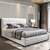 Double Bed Frame, Artiss Gas Lift Bed Frame Base Leather White