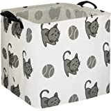 HIYAGON Square Storage Bins,Storage Baskets,Canvas Fabric Storage Boxes,Foldable Nursery Basket for Clothes,Books,Shelves Bas
