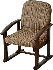 山善 高座椅子 リクライニング(背もたれ) 高脚 ミドルバック 立ち座りがラク 高さ調節可能 腰にフィットする背もたれ ぐらつきにくい 完成品 ストライプ/ダークブラウン KMZC-55(VS1)
