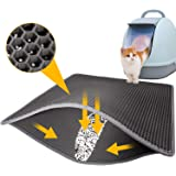 LeToo Cat Litter Mat Grey Trapping for Litter Box, XL Jumbo 30 x 24 in, Urine & Water Proof, Honeycomb Double Layer Anti Trac