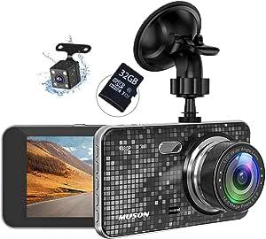 【32Gカード付き】MUSON(ムソン) ドライブレコーダー NOTE5 前後カメラ 1080PフルHD高画質 170度広角 2カメラ G-センサー WDR 4.0インチ画面 衝撃録画 駐車監視 車レコーダー 動体検知 信号対応 32GB SDカード付き 日本語取り扱い書 車載カメラ リアカメラ付 デュアルドライブレコーダー ドラレコ