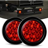 """Nilight TL-18 2PCS 4"""" Round Red LED w/Surface Mount Grommet Plugs IP67 Stop Brake Turn Tail Lights for Truck Trailer RV Jeep,"""