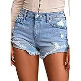Uqnaivs Women's Casual Mid Rise Frayed Raw Hem Ripped Stretchy Denim Jean Shorts