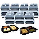 3 Compartment (10 Pack) Premium BPA Free Reusable Meal Prep Containers - Plastic Food Storage Trays with Airtight Lids - Micr