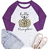 Hello Pumpkin Halloween T-Shirt Women Halloween Thanksgiving Pumpkin Raglan Sleeve Baseball Shirt Blouse