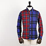 SWEEP!! LosAngeles スウィープ ロサンゼルス メンズ クレイジーチェック柄 フランネル ボタンダウンシャツ FINDUILAS 152-D.9512.00/9004(ブルー×レッド)