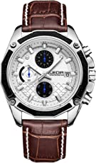 JEDIR メンズ 腕時計 ホワイト/ブラック ダイヤル 本革バンド 多機能 レジャース ポーツクロノグラフ ウォッチ