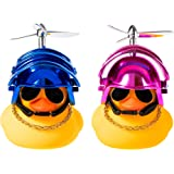 Haooryx 2 Pack Rubber Duck Toys Car Decorations Cool Helmet Yellow Duck Car Dashboard Ornaments Set, Blue and Pink Rubber Duc