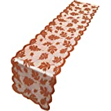 ibohr Thanksgiving Table Runner with Maple Leaves Lace Festival Table Runner Thanksgiving Table Decorations for Parties & Gat