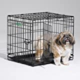 """Dog Crate   Midwest ICrate 24"""" Double Door Folding Metal Dog Crate w/Divider Panel, Floor Protecting Feet & Leak-Proof Dog Tr"""
