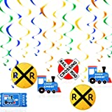 28 Pieces Train Hanging Swirls Steam Train Party Hanging Decorations Railroad Train Crossing Hangings for Train Theme Birthda