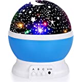 Kids Star Night Light, 360-Degree Rotating Star Projector, Desk Lamp 4 LEDs 8 Colors Changing with USB Cable, Best for Childr