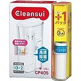 三菱ケミカル・クリンスイ 浄水器 ポット型 お買得セット CP405-WT + カートリッジ 1個 増量 CP405W-WT 持ちやすい ドアポケットに収納可