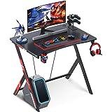 KKL ゲーミングデスク ドリンクホルダー付き 机 pcデスク ゲームデスク 幅80cm×奥行60cm デスク パソコンデスク 組立簡単 ゲーム向け ヘッドホンラック付き 在宅勤務 ブラック