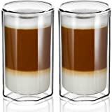 ZENS Double Walled Glasses,Unique Octagonal 13 oz Insulated Coffee Mugs Set of 2, Clear Borosilicate Glass Cups for Cappuccin