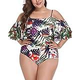 Wavely Women One Piece Plus Size Swimwear Ruffle Flounce Off Shoulder Printed Monokini Swimsuits